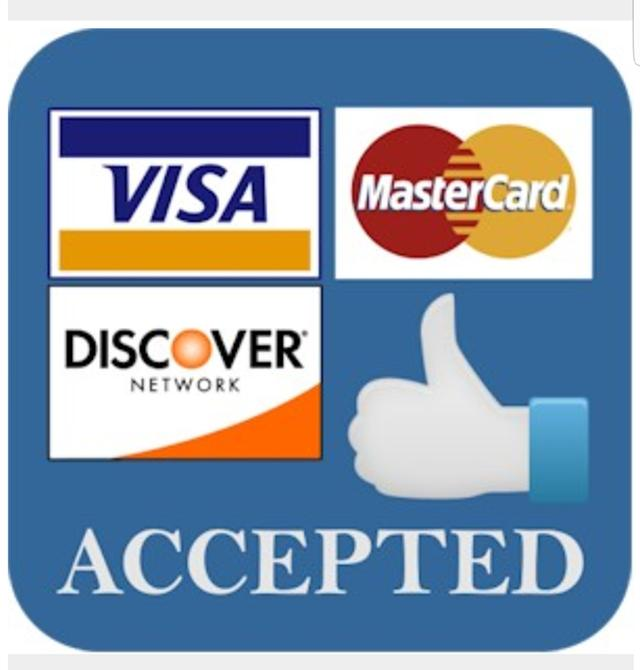 Credit cards accepted here sign