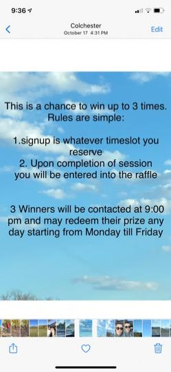 win up to 3 free half hr sessions tomorrow from 6am to 7 30 pm but you have to enter the raffle to win